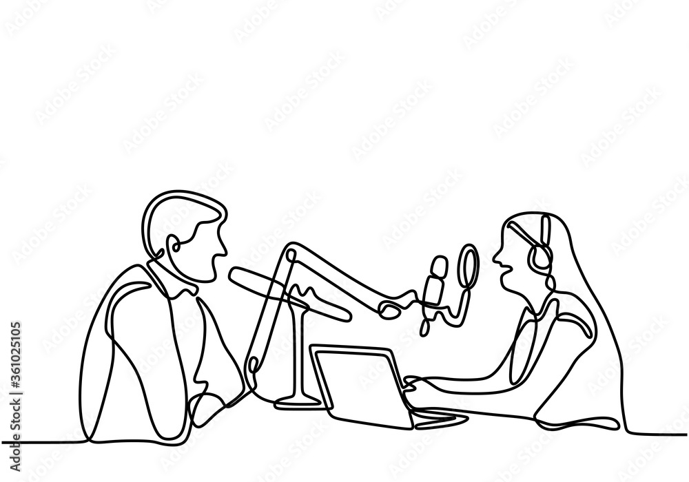 Fototapeta Man and woman sits in headphones at the microphone and broadcasts. One continuous line drawing of a young lady doing a podcast by interviewing a male. Speaks into a microphone. Vector illustration