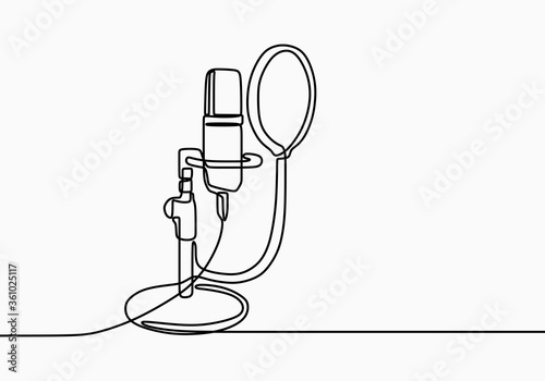 Obraz Continuous line drawing of vector radio station microphone icon. Podcast microphone hand draw minimalist design painted on white background. Outline sound recording concept single line art - fototapety do salonu