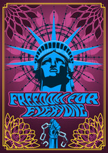 Freedom For Everyone Poster, Statue Of Liberty, Psychedelic Art Poster Hippie Style, Mandala Background, Barbed Wire Halo