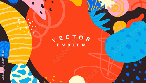 Vector abstract creative background in minimal trendy style with copy space for text and modern art shapes - digital collage, horizontal design template , simple, stylish and minimal wallpaper design  - 361035326