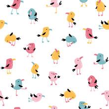 Tropical Funny Birds Seamless ...