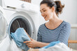 woman is doing laundry
