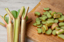 Rhubarb Placed On The Table For Cooking. Rhubarb Recipes. Summer Food