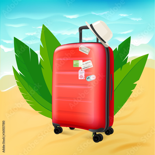 Fototapety, obrazy: Red suitcase on sunny beach
