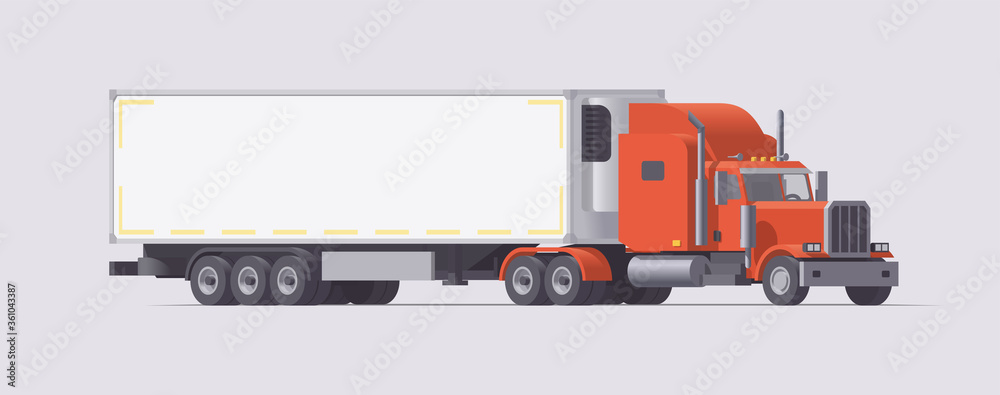 Fototapeta Semi truck carrying refrigerator trailer. Isolated american retro tractor. Vector illustration
