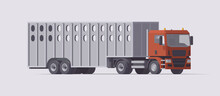 Semi Truck Carrying Cattle Tra...