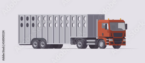 Tablou Canvas Semi truck carrying cattle trailer