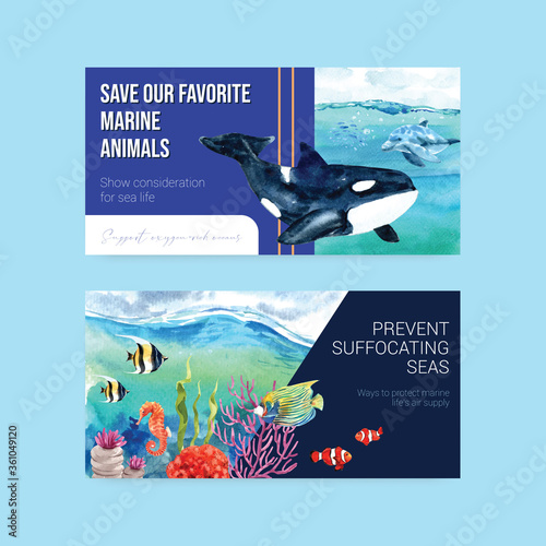 Fotografia Twitter template design for World Oceans Day concept with marine animals waterco