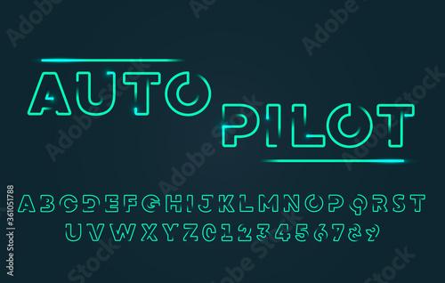 Valokuvatapetti Vector Illustration Modern Futuristic Outline Typography