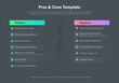 Simple infographic for pros and cons with place for your content - dark version. Easy to use for your website or presentation.