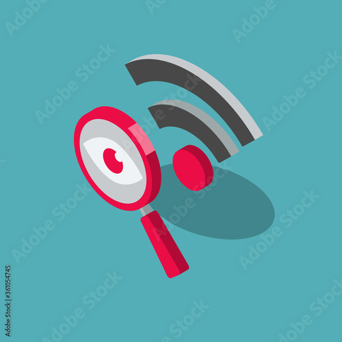 Fotomural Public wi-fi security risks symbol with a magnifier and a wi-fi symbol, isolated on blue background