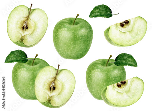 Tableau sur Toile Set of Granny Smith green apple watercolor illustration isolated on white backgr