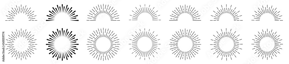 Fototapeta Sunburst set. Sunburst icon collection vector.Retro sunburst design.Big collection sunburst best quality. Burs.Sunrise rays light burst line shine sunshine sunbeam vintage border symbol