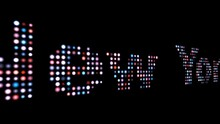 New York Colorful Led Text Over Black