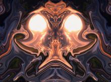 Alien Face. Colorful Liquid Ab...