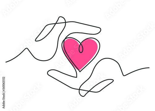 Fototapeta Continuous line drawing of red heart between two  human hands meaning care and love.  Vector illustration obraz
