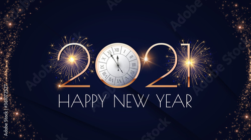 Canvas Print Happy new 2021 year Elegant gold text with fireworks, clock and light