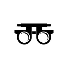 Eye Optometry Trial Lens, Correct Vision Test. Flat Vector Icon Illustration. Simple Black Symbol On White Background. Eye Trial Lens, Correct Vision Sign Design Template For Web And Mobile UI Element