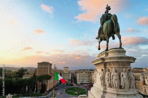 statue of vittorio emanuele ii, photo as a background in old italian roman capit Canvas