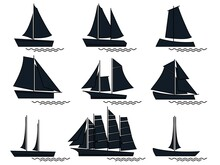 Isolated Black Silhouette Sail...