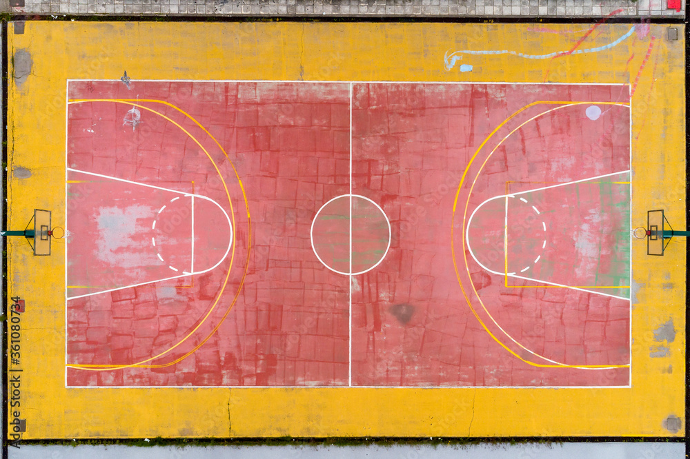 Fototapeta Basketball court and its layout view from above. Aerial Photography