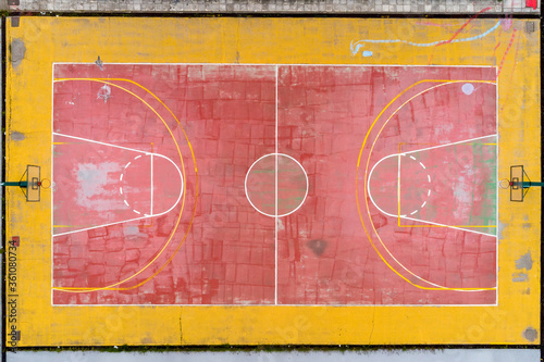 Fototapeta Basketball court and its layout view from above. Aerial Photography obraz