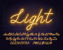 Neon Yellow Script Font. Glowi...