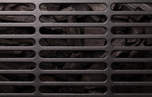 Metal Barbecue Grill Over Hot Coal