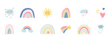 Hand Drawn Rainbows, Sun, Funny Clouds, Stars, Hearts On White Background. Baby Shower. Cute Kids Nursery Set. Lovely Cartoon Rainbows For Wallpaper, Fabric, Wrapping, Apparel. Vector Illustration