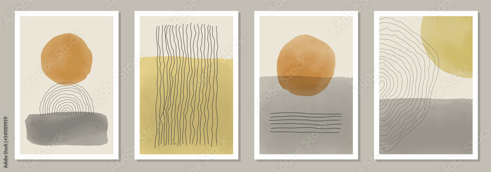 Fototapeta Trendy set of abstract creative minimal artistic hand painted compositions