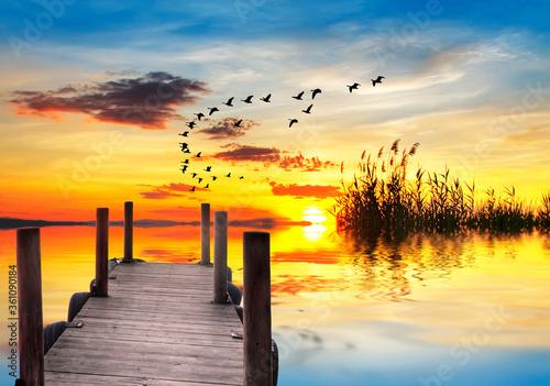 Cuadros en Lienzo dulce atardecer en el lago calmado