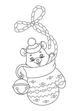 Little Mouse Sitting In A Mitten. Christmas Coloring Page