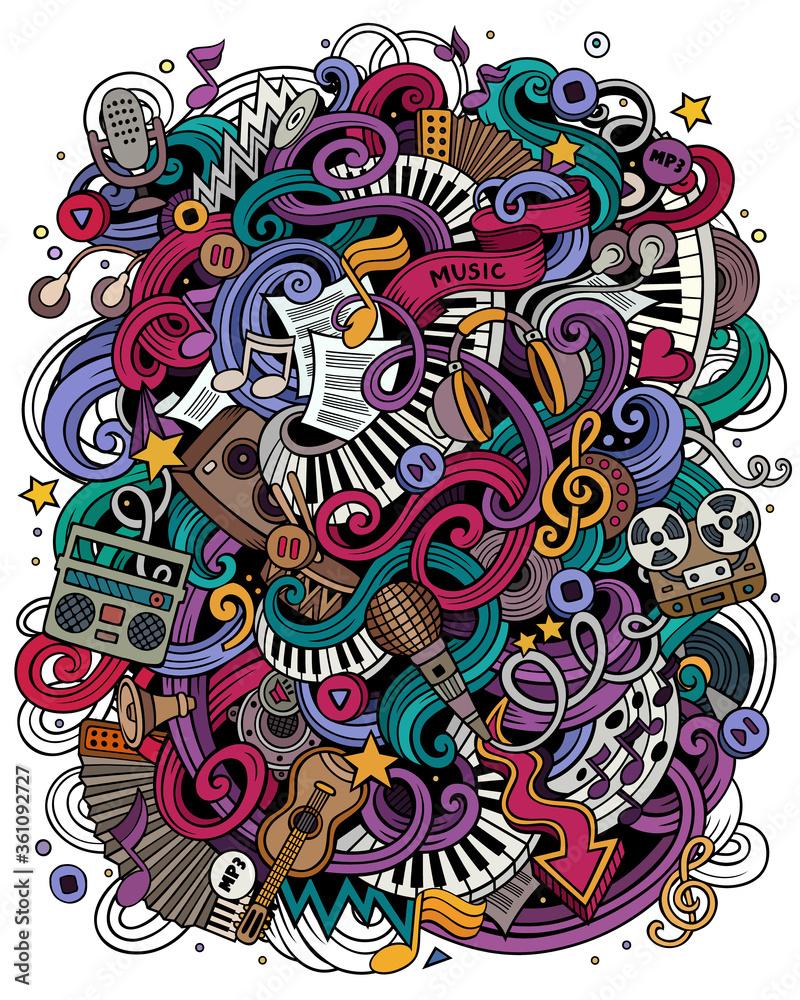 Fototapeta Music hand drawn vector doodles illustration. Musical poster design