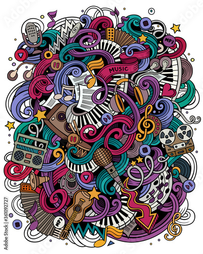 Music hand drawn vector doodles illustration. Musical poster design - 361092727