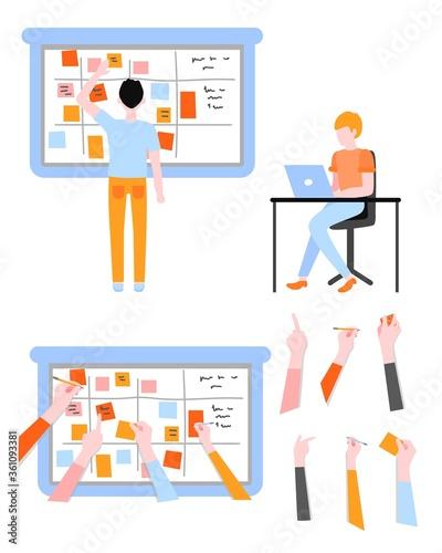 Stampa su Tela Scrum planning of teamwork on software development set in flat style
