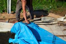 Removing Damaged Pool Inner Foil
