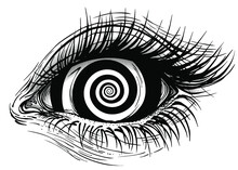 Isolated Vector Illustration Of Realistic Human Eye Of A Girl With Vortex Hypnotic Iris.