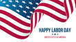 USA Labor Day celebrate banner with waving United States national flag. Vector illustration.