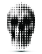 Vector Dot Half Tone Vertical Motion Blur Smear Scary Skull Isolated On White Background.