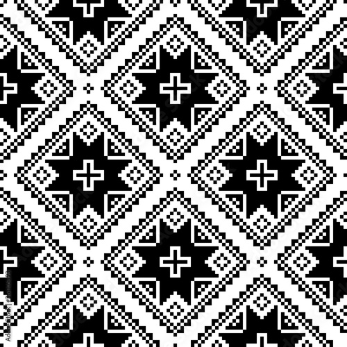 Seamless cross-stitch folk art vector pattern inpired by traditional embroidery designs form Ukraine and Belarus