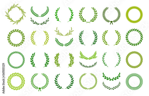 Set of green silhouette laurel foliate, wheat and olive wreaths depicting an award, achievement, heraldry, nobility Fototapeta