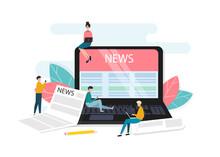 News Website On Laptop Screen. Online News