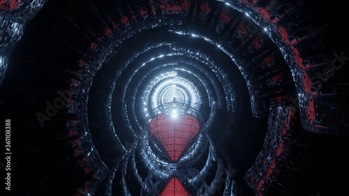 Fototapeta Abstract fragmented diminishing sci-fi tunnel with lights