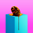 canvas print picture - Concept illustration from 3d rendering of plastic melting orange screaming skull sculpture in colorful pink and blue vaporwave style.