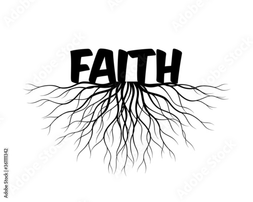 Faith and Roots icon. Vector outline graphic. Wallpaper Mural