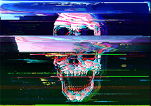Digital Illustration Of Digital Glitch Screaming Skull In TV Or VHS Style.