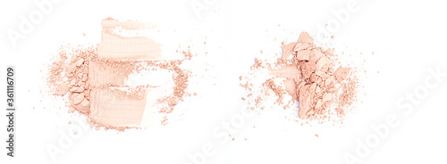 Foto Broken ground  beige face powder isolated on white background, top view