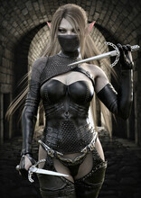 Portrait Of A Masked Fantasy Elf Assassin Female Wearing Dark Leather Armor And Armed With Two Sai's. Warrior Has Long Brown Hair And Is Walking Toward Her Target . 3d Rendering Fantasy Illustration