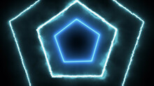 Neon Glowing Hexagonal Tunnel ...
