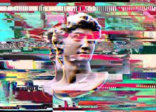 Digital Color Offset Illustration Of Glitched Michelangelo's David Head Bust Sculpture From 3D Rendering On Colorful Digital Error Background.